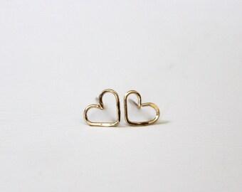 Heart Stud Earrings, Heart Earrings, Heart Studs
