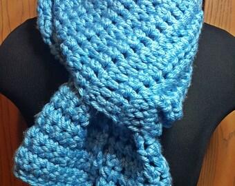 Light Blue Chunky Crochet Scarf