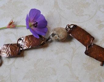 Petoskey stone copper bracelet. hammered copper bracelet, metal work, boho, Up North, Michigan bracelet, rustic, organic