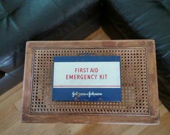 Vintage Metal First Aid Emergency Kit, Johnson & Johnson, Storage, Box