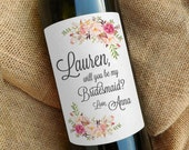 Will You Be My Bridesmaid Wine Labels \\ Bridesmaid Gift