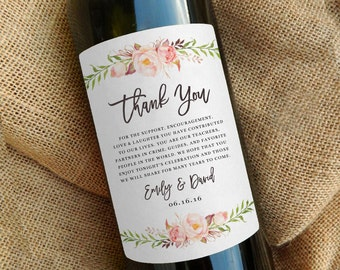 Wine Bottle Thank You Label \\ Wedding Favor \\ Gift \\ Centerpiece