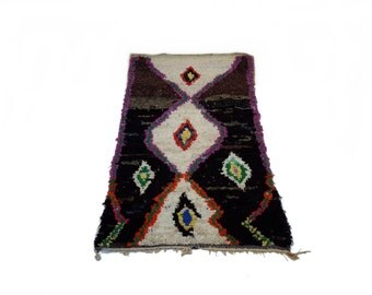 "87""X45"" Vintage Moroccan rug woven by hand from scraps of fabric / boucherouite / boucherouette"