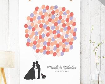 Printable Wedding Guest Book Alternative - Balloon Bunch Guest Book Alternative - Bride and Groom Silhouette - Guest Book DIGITAL