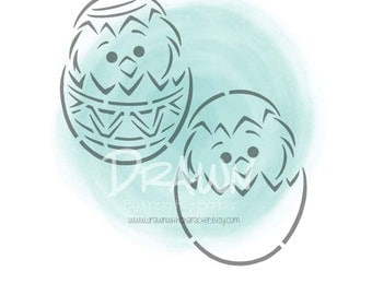 Chick in  Decorated Easter Egg- PYO Stencil File- PERSONAL USE only