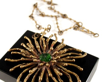 Large Pal Kepenyes Atomic Necklace - Studio Artisan Sculpture - Modernist Brutalist - Starburst - Mid Century Mexican - 1970's