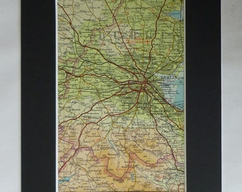 1960s Vintage Dublin Map, Available Framed, Ireland Art, Irish Decor, St Patrick's Day Gift, Crumlin Picture, Clontarf Wall Art, Tallaght