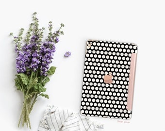 Platinum Edition Black & Cream Polka with Rose Gold Detailing Hybrid Smart Cover Hard Case for the iPad Air 2, iPad mini 4 , iPad Pro