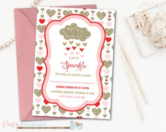 Baby Sprinkle Invitation, Valentine Baby Sprinkle, Hearts Baby Sprinkle, Valentine's Day, Hearts, Gold, Baby Shower, Baby Shower Invitation