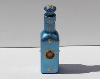 Isla del Sol Flacon Bottle hand painted patina style glass bottle celestial sun art shiny dark blue silver patina altar home decor gift