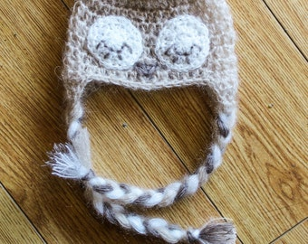 Mohair Owl Hat with Ear flaps and Tassels Made to Order Baby sizes