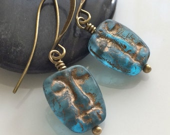 Aqua Glass Earrings  Glass Mask Earrings  Bohemian Earrings  Czech Glass  Boho  Antiqued Brass Earrings  Glass Dangles