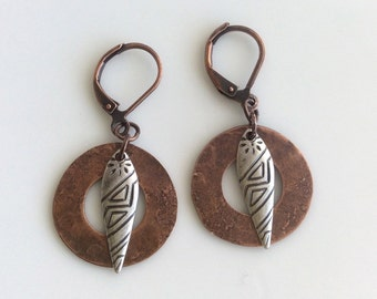 Copper and Silver Earrings  Mixed Metals  Bohemian Earrings  Rustic Earrings Boho Earrings  Gypsy Dangles