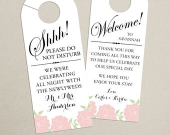 Set of 10 - Double-Sided Floral Door Hanger for Wedding Hotel Welcome Bag - Do Not Disturb - Door Hanger, Welcome Tag - Destination Wedding