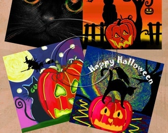 HALLOWEEN -  Printable Digital Collage Sheet 12 X 4 inch squares for Coasters, Greeting Cards, Gift Tags.  Instant Download #224.