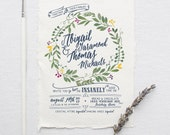 Watercolor Wedding Invitation Suite DEPOSIT, DIY, Rustic, Boho, Chic, Floral, Bohemian, Calligraphy, Deckled Edge (Wedding Design #70)