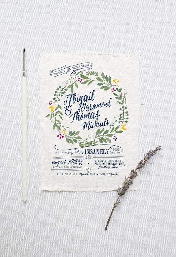 Watercolor Wedding Invitation Suite DEPOSIT DIY Rustic