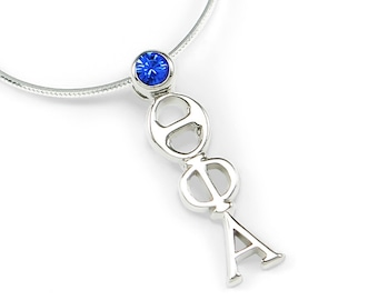 Theta Phi Alpha Sterling Silver Lavaliere with Swarovski Blue Crystal // Sorority Gifts // Sorority jewelry // Gifts for Her // Necklace