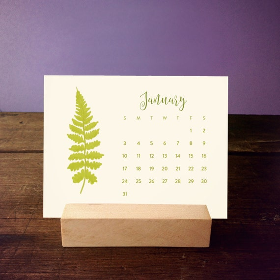 Calendar Wood Stand : Fern desk calendar with wood stand by favoritestory