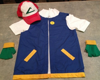 Boy's POKEMON Trainer - ASH Ketchum  Costume  -  Cosplay