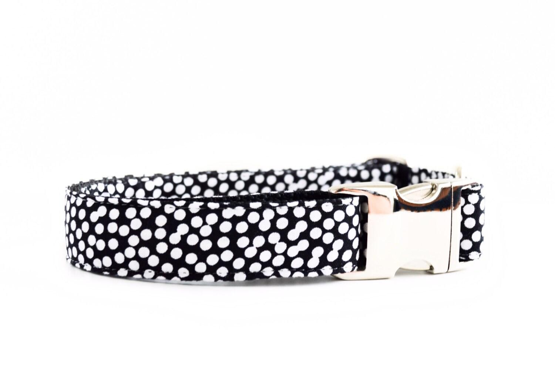 Dots Dog Collar Black And White Polkadot Collar With Metal