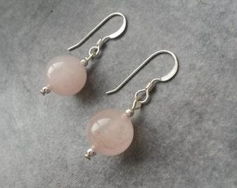 Rose Quartz Bead Dangle Earrings with Sterling Silver Earwires / Rose Quartz Beads / Rose Quartz Earrings / Gemstone Beads / Pantone 2016