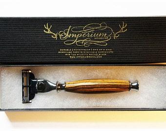 Wood Razor Handle for Gillette Mach3 or Venus - Shaving Set - Shaving Kit Custom Razor  in Tiger Wood