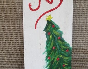 Christmas Tree Joy on Reclaimed Wood