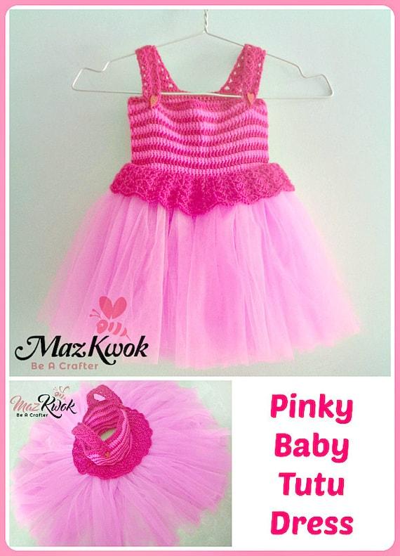 Pinky baby tutu dress pdf crochet pattern size 12 months to
