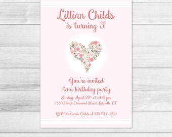 Heart with Flowers Birthday Party Invitation, Printable Digital Invite File, Girl, Pink, Floral