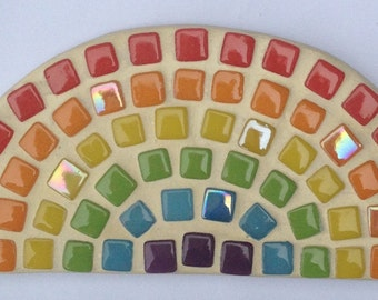 Rainbow mosaic kit with shape, tiles, glue, grout and instructions to make your own interior mosaic
