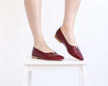Womens Slip Ons Pointed Toe Flats shoes Burgundy leather , woman loafers , handmdae adikilav ON SALE 15%