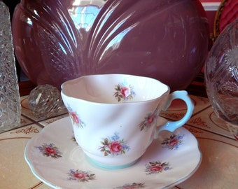 Vintage Rosina Fine Bone China England Tea Cup, Pink Roses Baby Blue Tea Cup and Saucer, Fine Bone China Tea Cup Rosina