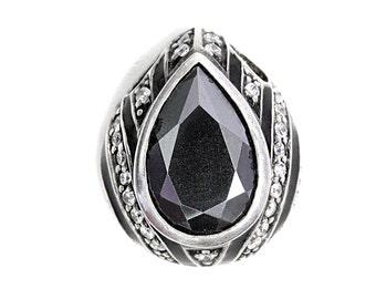 Pendant Hematite Enamel Cubic Zirconia Silver