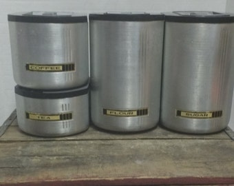 Vintage Kromex Canister Set Flour,Sugar,Tea,Coffee