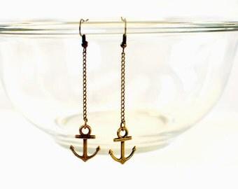 anchor earrings / anchor jewelry / bronze anchor earrings / brass / nautical earrings / sailor / navy wife earrings / dangle earrings
