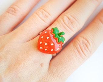 Kawaii Strawberry Ring, Cute Adjustable Jewelry for Her