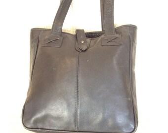 Genuine Clava vintage black leather tote bag