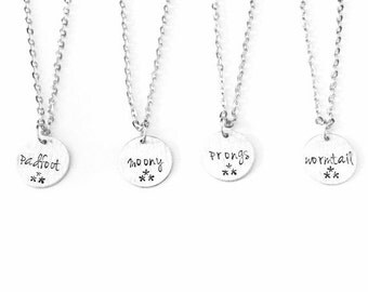 Padfoot Prongs Moony Wormtail Marauders Inspired Charm Necklaces Set Of 4