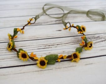 ON SALE Hand Crafted Sunflower Flower Crown - Yellow and Green Flower Crown - Flower Halo - Renaissance Flower Crown - Autumn Flower Crown -