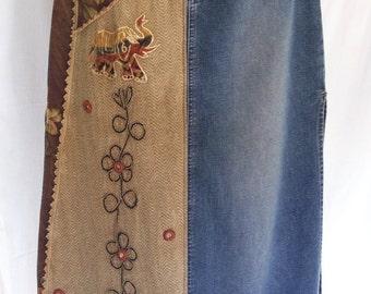 long skirt, vintage, denim, high waisted, maxi, hippie skirt, boho skirt, hippie boho bohemian, size 5/6, elephant clothing, festival wears