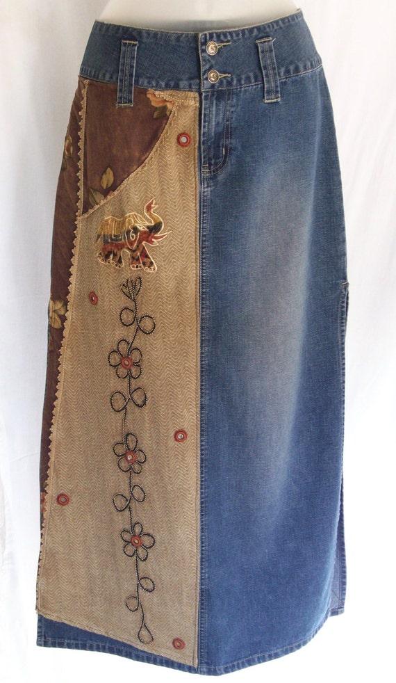 skirt vintage denim high waisted maxi hippie skirt