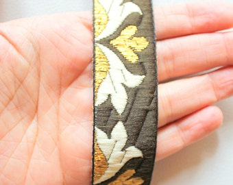 Brown, Gold And Beige Embroidery Fabric Lace Trim, Approx. 28mm Wide - 140316L27