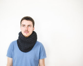 Men's  Scarf, Chunky Scarf for Mens, Circle Scarf, Infinity Scarf, Snood, Winter Accessories, Chunky Cowl Neckwarmer, The Dolomite, Pewter