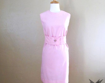 Vintage 1960's Pink Sleeveless A-line Shift  Size Small/ Medium