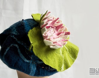 Waterlily beret, Romantic, Blue and Green, Asymetrical hat, ooak, Felted flower hat, Hand felted hat,Felt sculptural hat, Kentucky Derby Hat