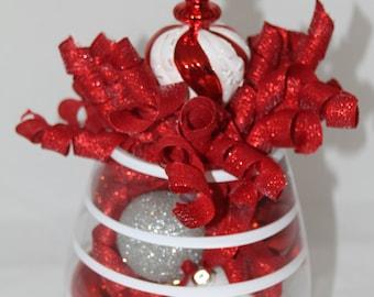 Christmas Centerpiece Centerpieces, Candy Cane Striped Christmas, Holiday Decoration, Snowball, Winter Centerpiece, Winter Home Decor