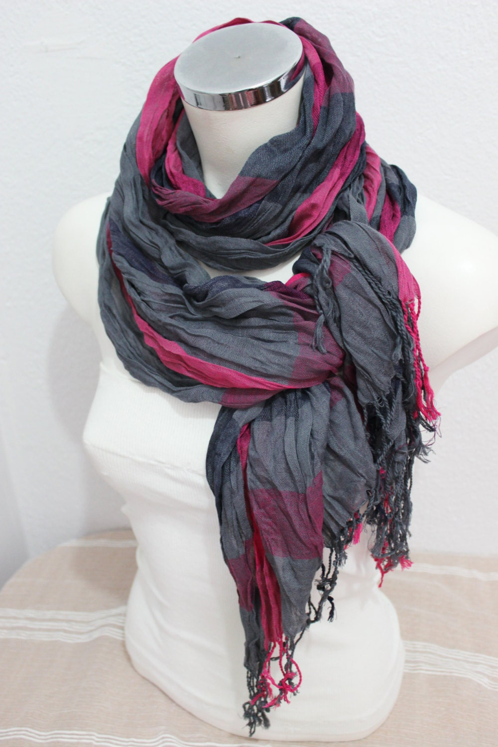 ethnic scarves gray pink scarves striped scarf