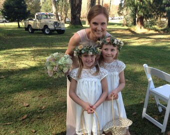 Best little Flower Girl Dress PATTERN sizes aged 2 to 9, Lace flower girl dress, rustic flower girl dress, wedding, country flower girl.