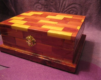 CEDAR JEWELRY BOX  with Parquet Finish - Handcrafted,Purple Lined